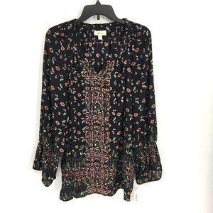 Style & Co Boho Black Floral Keyhole Front Top